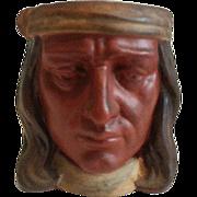 Signed Joseph Green Ottawa Illinois Figural Native American Glazed Earthenware Hand less Mug .