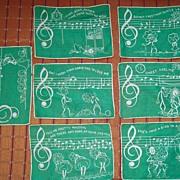 Vintage Novelty Musical Linen Napkins