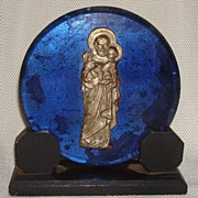 Art Deco Electric Blue Glass Catholic Art