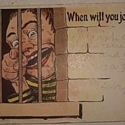 Vintage 1907 Novelty Jail House Post Card