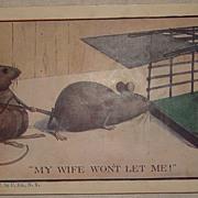 Vintage 1908 Novelty Post Card - Mice