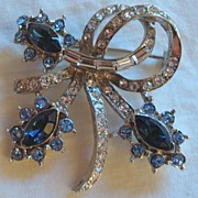 Vintage Royal Blue & Crystal Rhinestone Pin/Brooch