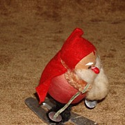 Vintage Santa on Skis Spun Cotton And Chenille Christmas Decoration