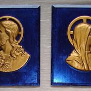 Art Deco Cobalt Blue Wall Plaques : Religious :  Jesus & Mary