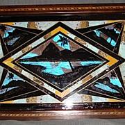 Vintage Butterfly Wing Art Mahogany Souvenir Tray