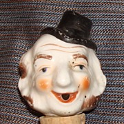 Figural Toby Style Gentleman Head Character Bottle Stopper/Pourer
