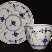 Vintage Royal Copenhagen Blue Flute Pattern Cup & Saucer