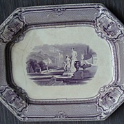 Antique Purple - Mulberry Transferware Mythological / Classical Scene Platter