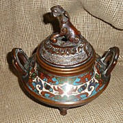 Antique Bronze Champleve Oriental Incense Burner