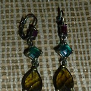 Vintage Victorian Style Glass Stone Ear Rings