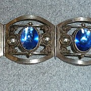 Taxco Sterling Silver Bracelet With Blue Stones