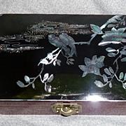 Vintage Oriental Lacquerware Mother Of Pearl Vanity Box