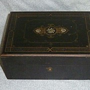 Vintage Gold & Silver Leaf Wood Vanity Box