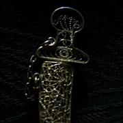 Vintage Sterling Filigree Saber/Dagger Pin/Brooch