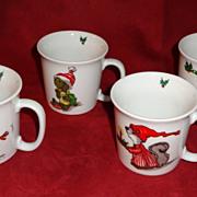 1976 Suzy's Zoo Enesco Import Christmas Cups