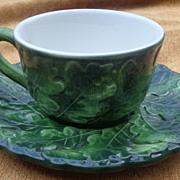 "Vietri "" Foglia "" Green Leaf Cup & Saucer Set"