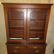 American Antique Step Back Solid Walnut 2 Piece Cupboard/Cabinet