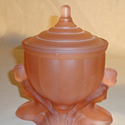 SOLD Art Deco Pink Satin Glass Powder Jar With Nudes
