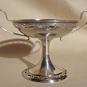 Sterling Pierced/Cut Two Handle Compote
