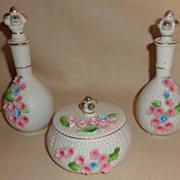 Vintage 3 Piece Porcelain Vanity Set - Raised Flowers