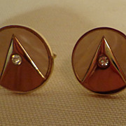 Swank Art Deco Mother Of Pearl & Diamante Cuff Links