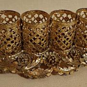 Vintage Vanity Ornate Gold Metal Lip Stick Holder