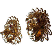 18 KT Gold Lion Head Earrings - Ruby Eyes - Estate Jewelry