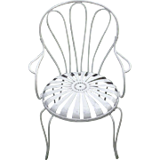 Carre Sunburst/Pin Wheel Rare Iron Garden Chair art deco french