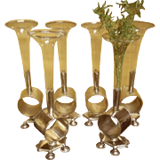 Victorian Silver Plate Napkin Ring Holders With Vases
