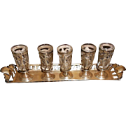 Sterling Cordial Overlay Glasses & Tray