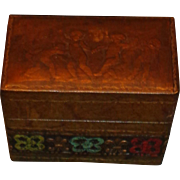 Vintage Embossed Hand Tooled Leather Card Holder/ Box - Italy