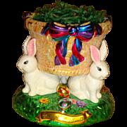 Chirstopher Radko -  Hand Painted -  Easter Bunny Basket -  Display