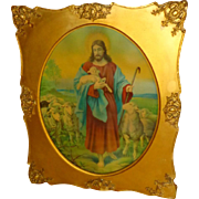 1930's Jesus With Flock Of Lambs - Print