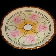 Elite Limoge - Hand Painted - Art Nouveau - Rose Pattern Plate - Signed