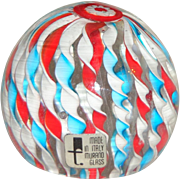 Murano Art Glass Twisted Ribbon Red White & Blue Paperweight