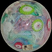 Murano Art Glass Latticino & Cane Paperweight