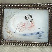 Oriental Scrimshaw On Mother of Pearl Pin / Brooch