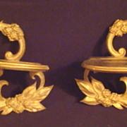 Pair of Vintage Gold Leaf  Plate Brackets