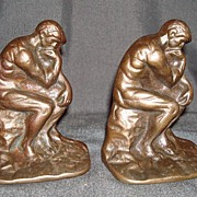"""Cast Iron """"The Thinker"""" Bookends"""