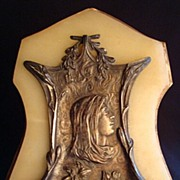 SOLD Antique Bronze and Marble Holy Water Font