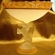 Large Frosted Art Glass Compote Baccarat Style
