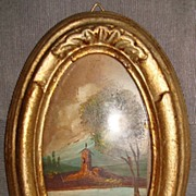 Italian Miniature Oil Painting in Gilt Frame