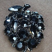 Lisner Black Rhinestone Apple Pin