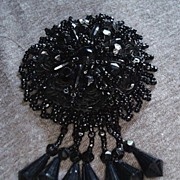 Victorian Black Glass Bead Pin Brooch