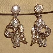 Vintage Rhinestone Drop Earrings Silver Metal
