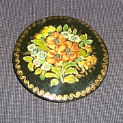 Russian Lacquer Floral Brooch Pin