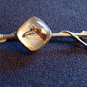 Equestrian  Intaglio Crystal Horse Head and Riding Crop Pin