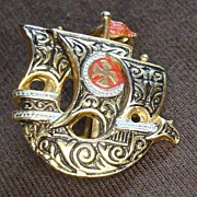Vintage Souvenir of Portugal Ship Pin - Brooch