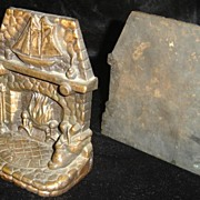 Solid Bronze Fireplace and Ship Bookends