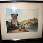 REDUCED 19th century - Watercolor by Dubel